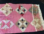 VINTAGE HAND QUILTED OLD RED COTTON GINGHAM OLD CALICO FABRIC CUTTER QUILT PIECE