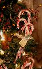 = 12 Primitive Christmas Vintage Style Chenille CANDY CANES Glittered Tag Sign