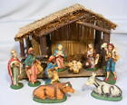 Vintage ITALY 1950s NATIVITY SET 10 pc Hand Painted w Creche 5 Composition