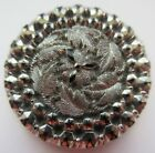 Dazzling LARGE Antique Victorian Pressed Black GLASS BUTTON Silver Luster (Z)