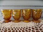 Set of 4 Vtg Indiana Amber Glass Colony Whitehall Cubist Juice Glasses 4 1/4