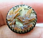 Beautiful Antique~ Vtg Carved MOP Shell BUTTON in Metal w/ Bird