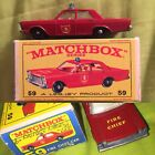 Matchbox Lesney 59 Ford Galaxie Police Car E Box 1966