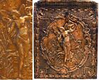 Antique Victorian Art Nouveau Copper Nude Winged Woman Fairy Fireplace Plaque