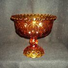 Stars Amber Glass Pedestal Dish Center Bowl Mint 7.25 inches across