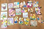 Lot of 21 Vintage Easter Greeting Cards glitter fuzzy embossed Hallmarkmore