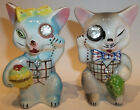LEFTON ANTHROPOMORPHIC CATS W RHINESTONE MONOCLES BUTTONS SALT PEPPER SHAKERS