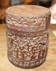 Carved Asian Wooden Jar Box Brush Tobacco Tea Signed Chinese Japanese