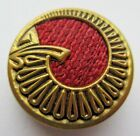Wonderful Antique~ Vtg Red Woven Silk Thread in Metal Perfume BUTTON 1