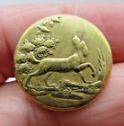 Superb Early Antique 1- Piece Metal Sporting Picture BUTTON Hunting Dog (K9)