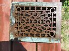 ANTIQUE VICTORIAN SM.F. ORNATE CAST IRON WALL FLOOR GRATE VENT REGISTER SALVAGE