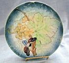 Antique Vintage  Majolica  Plate,With Large Grapes and Leaf with a Honey Bee