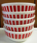 White Striped Platonite Soup or Cereal Bowls, 1950's
