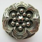 Beautiful Antique Victorian Black GLASS BUTTON Silver Luster STAR Flower 1