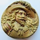 Exceptional X LARGE Antique Metal Picture BUTTON Historical King Charles (L20)