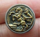 Fantastic RARE Antique Metal Picture BUTTON Circus Monkey Riding Horse 3/4