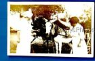 FOUND VINTAGE PHOTO B+0664 WOMEN IN DRESSES POSED BY HORSES PULLING WAGON