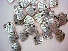 20 MADE WITH LOVE Silver Plated Charm Tag Craft Bead Beading Alloy Sew On K22