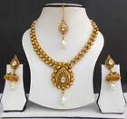 South Indian Jewelry Bollywood Gold Plated Kundan Necklace Earrins Bridal Set