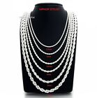 Mens Rope Chain Necklace Bracelet 25mm to 6mm 925 Silver Plated 18 20 24 30