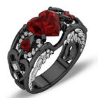 US Red Ruby Black Gold Heart Angel Wings Ring Wedding Band Jewelry Gift Size6 10