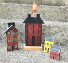 Set of 4 Hand Crafted Primitive Painted Distressed Wooden Saltbox Houses
