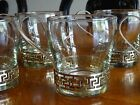 Lot 6x Vintage Glass Tea Coffee Cups with Gold Handles Libbey Greek Key Retro