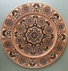 Ukrainian Decorative Plate Pear Wood Hand Carved Inlaid Glass Beads 14 3 4