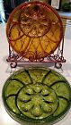 VINTAGE  AMBER OR GREEN INDIANA GLASS DEVILED EGG RELISH TRAY, Choose One.