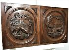 Pair wolf dog hunting panel Antique french carved wood architectural salvage