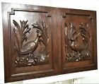 Pair bird hunting panel Antique french wooden carving architectural salvage