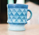 Vintage Fire King Blue Coffee Mug Cup Diamond Kimberly Pattern