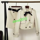 Chic Women Classic Double-breasted Woolen Coat Jaacket + Mini Skirt Suits 2Pcs