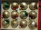 Box of 12 Vintage Shiny Brite Christms Ornaments Glittered, Red Green