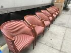 Awesome Burgundy Stripe Upholstered Dark Wood Arm Chairs - Conference or Home