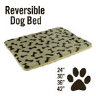 Dog Cat Pet Bed Mat Crate Kennel Cage Fleece Sherpa Pad Reversible Bone Print