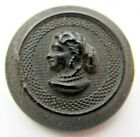 Beautiful Antique~ Vtg Carved HORN Picture BUTTON Ladies Head Cameo 1- 1/8