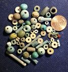 LOT OF 60 LOOSE ANCIENT EGYPTIAN MUMMY FAIENCE BEADS 300 -  500 BC MAKE BRACELET