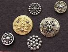 lot, 6 CUT STEEL BUTTONS, Victorian, vintage metal brass antique