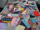 Antique Vintage Quilt Top/ Antique Crazy Quilt Top / Mens Silk-NeckTies