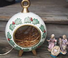 VTG 1973 Hand Crafted Ceramic 3 pc Figure Nativity in Lighted Standing Ornament