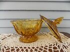 Vintage Anchor Hocking Honey Amber Glass Fairfield Compote Candy Dish with Lid