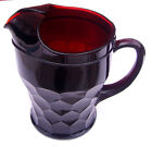 Vintage Early Anchor? Royal Ruby Red Honeycomb Glass Georgian Pitcher w Ice Lip
