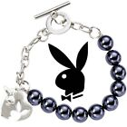Playboy Bracelet Heart Bunny Charm Logo Faux Pearl Glass Bead y2k Play Boy NOS