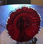 fenton ruby red low bowl glass silver crest 91 2 diameter excellent condition