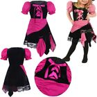 Kids Girl Punk Priate Short Bubble Sleeves Halloween Costume Cosplay Party Dress