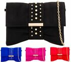 WOMENS BRIDAL FAUX SUEDE PPEARL STUDDED BAND ENVELOPE EVENING PROM CLUTCH BAG
