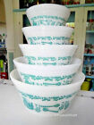 Vintage Federal Milk Glass Turquoise Antique Kitchen Aids Mixing Bowls Set of 5