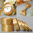 25 Yards Gold 6mm to 50mm Satin Ribbon Gift Bow Wedding Party Craft Decoration