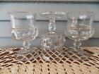 Set of 3 Vintage Kings Crown Thumb Print Clear Glass Wine Goblets
